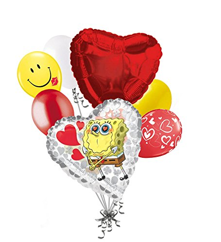 7pc Spongebob Squarepant Love You Happy Valentines Day Balloon Bouquet Mine Kiss Sweetest