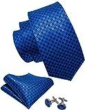 Barry.Wang Royal Blue Ties Plaid Tie Set Handkerchief Cufflinks