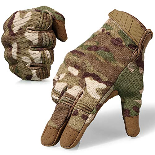 AXBXCX Breathable Flexible Rubber Hard Knuckle Full Finger Tactical Gloves Protection for Riding Driving Motorcycle Cycling ATV Dirtbike Motorbike Hunting Shooting Airsoft Paintball Camouflage CP L
