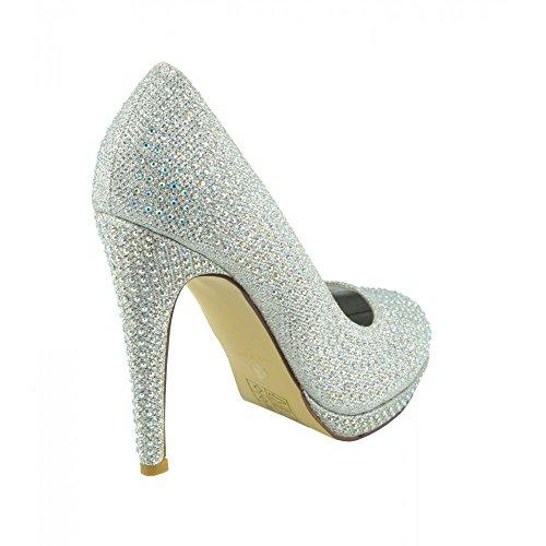 chaussures Femme Argent Paillettes de de Bal Maille la de chaussures la Partie cour chaussures chaussures bridemaid Diamante prnp4a6