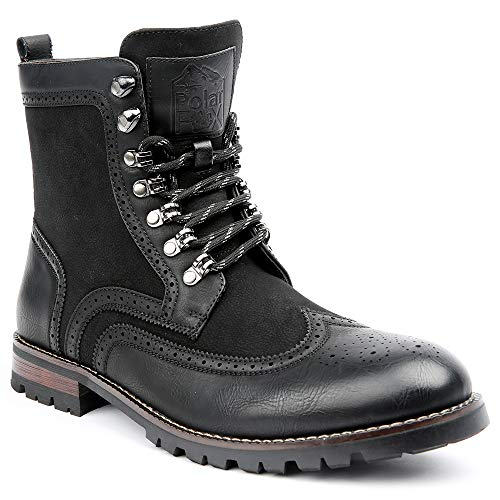 08586 Mens Wingtip Motorcycle Combat Boots with Zipper - Black, Size 10 ()