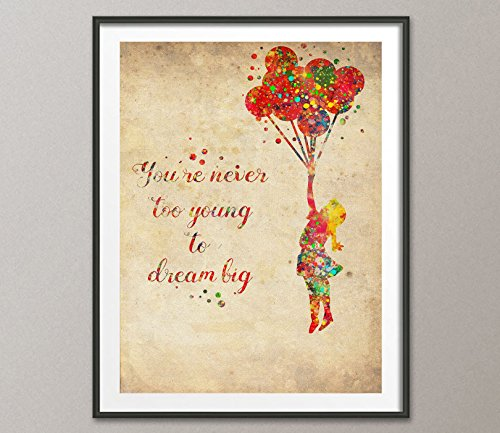 (Vintage Banksy Balloon Girl Watercolor Painting Art Print Wall Art Poster Giclee Wall Decor Art Wall Hanging Home Decor Inspirational)