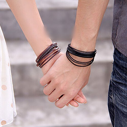 1X Fashion Unisex Leather Handcraft Wrist Bracelet Bangle Handlace Wrist Collar