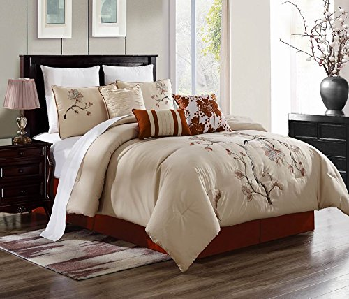 (7 Piece Luxury Comforter/Bedding Set with Cushion, Shams, and Bedskirt (Queen, Embroidery Asian Flower))