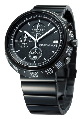 Issey Miyake Trapazoid Unisex Quartz Watch with Black Dial Chronograph Display and Black Stainless Steel Strap SILAZ001