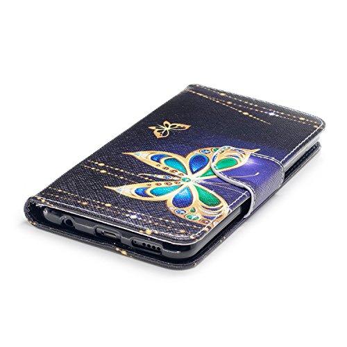Funda Para Honor 7X, Ecoway PU Pintado Carcasa Funda para Funda Ranura para tarjeta incorporada Cartera Flip Case Cover para Huawei Honor 7X- style 8 style 13