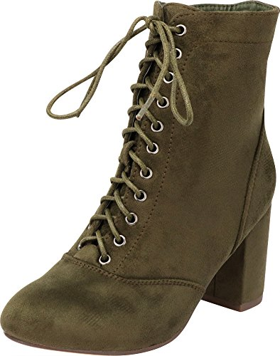Cambridge Select Women's Closed Round Toe Lace-up Chunky Block Heel Ankle Bootie,10 B(M) US,Olive -