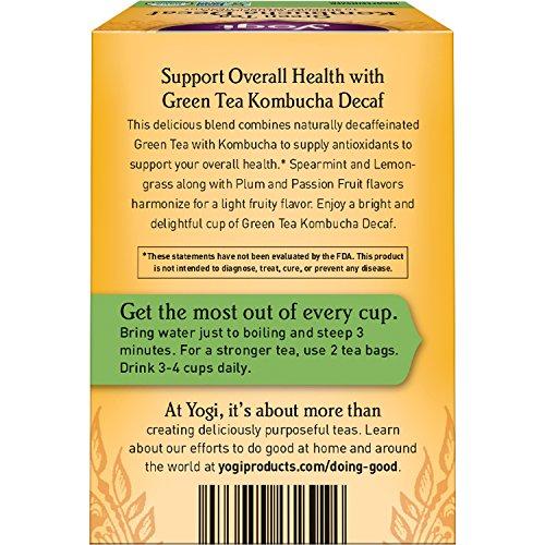 Yogi Tea - Green Tea Kombucha Decaf - Supplies Antioxidants - 6 Pack, 96 Tea Bags Total - incensecentral.us