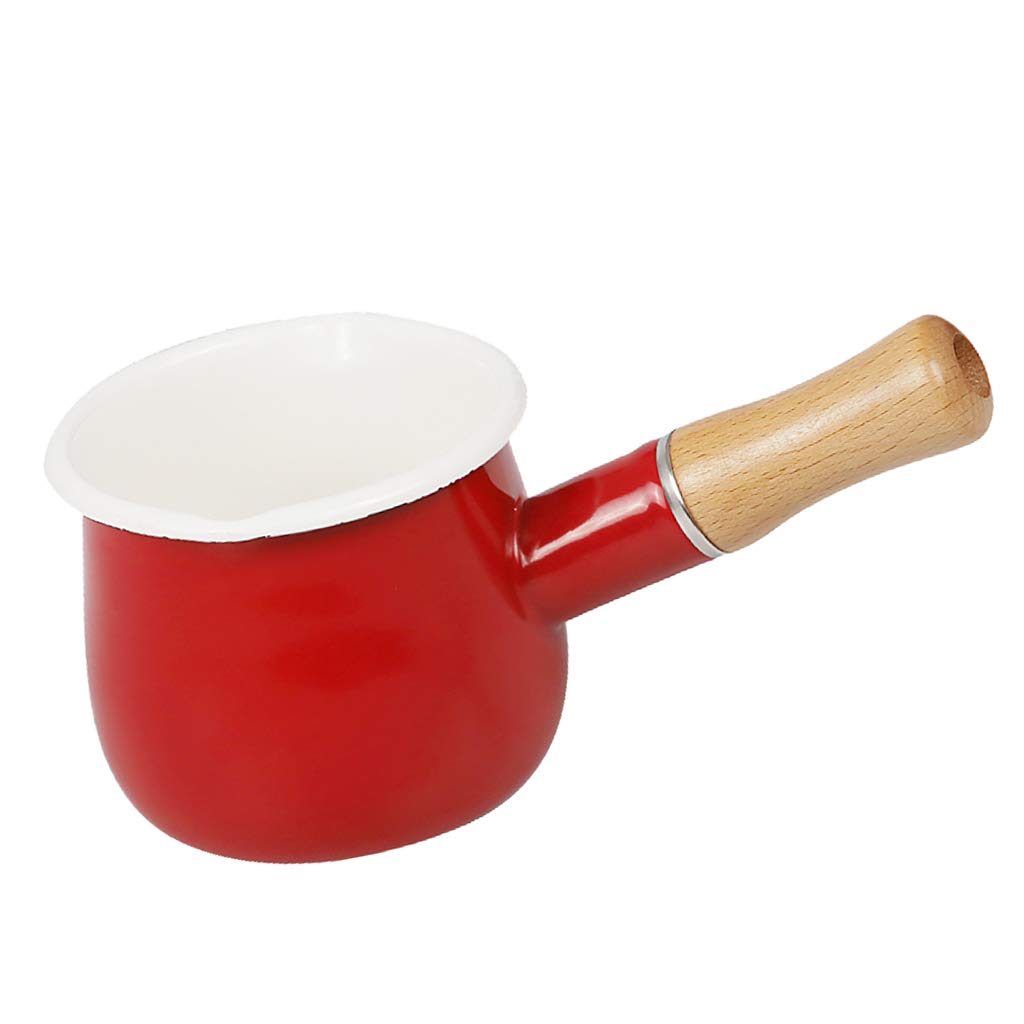 Rouge P Prettyia Po/êle De Lait Pot /à Soupe Outil Cuisini/ère Casserole Portable Accessoire Cuisson