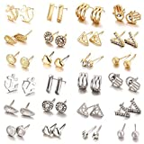 24 Pair/Set Hypoallergenic nickel-free Geometric Crystal Earrings Piercing Assorted Bead Charms Multiple Stud Earring Set (24 pairs)