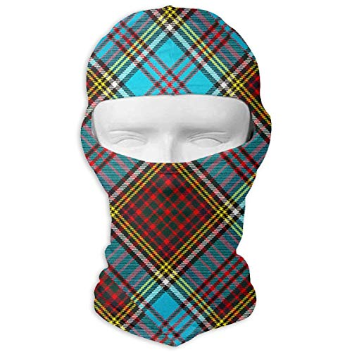 Giinly Modern Anderson Heavy Weight Tartan Windproof Dust Protection Balaclava Full Face Mask Hood Headcover ()