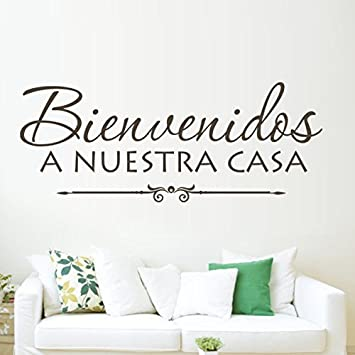 Bienvenidos A Nuestra Casa/Welcome To Our Home   Vinyl Spanish Wall Decal  Family Love