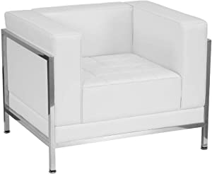 "Flash Furniture Leather Chair, 35""W x 28.75""D x 27.25""H, Melrose White"