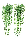 Yatim 90 cm Money Ivy Vine Artificial Plants Greeny Chain Wall Hanging Leaves for Home Room Garden Wedding Garland Outside Decoration Pack of 2