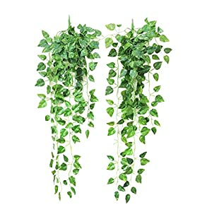 Yatim 90 cm Money Ivy Vine Artificial Plants Greeny Chain Wall Hanging Leaves for Home Room Garden Wedding Garland Outside Decoration Pack of 2 10