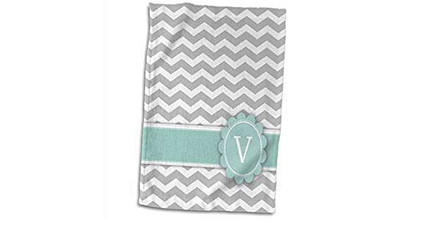 3D Rose Letter V Monogrammed On Grey and White Chevron with Mint Gray Zigzags Personal Initial Zig Zags Towel 15 x 22 Multicolor