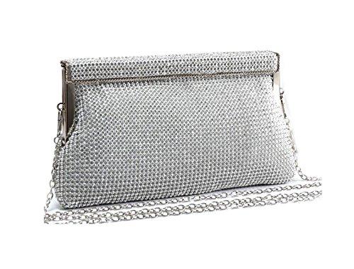 LeahWard Women's Diamante Clutch Bag For Wedding Rhinestone Flower Evening Clutch Bag SILVER W: 23 X H: 11.5 X D: 5 CM