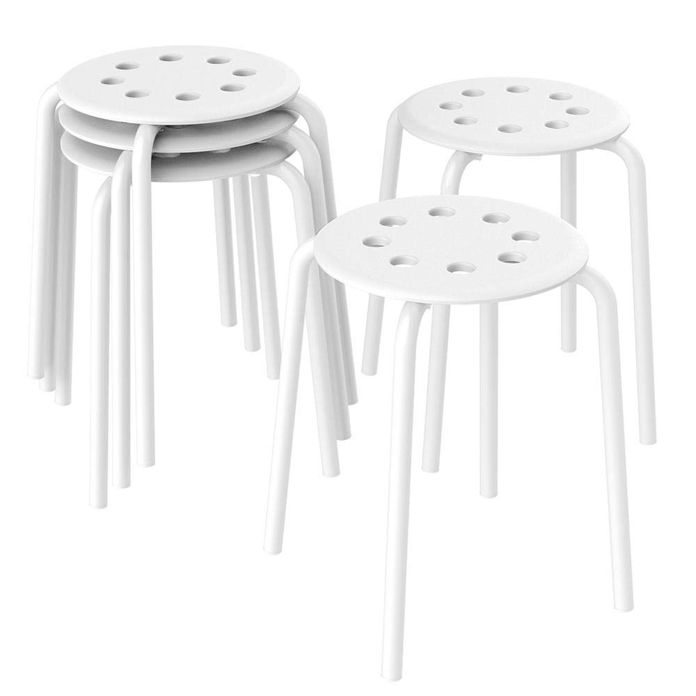 Topeakmart Barstools Plastic Stack Bar Stools Backless Kids Children Stools for Classroom Metal Leg 17.3in Height Set of 5 White by Topeakmart