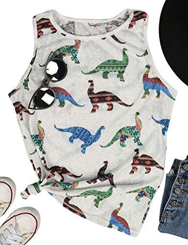 OUNAR Dinosaur Tank Top Dino Boho Print Racerback Sleeveless Graphics Tees Size S - Dinosaur Graphic Tee