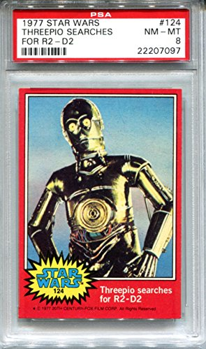 1977 Star Wars Topps Trading Card Red Series #124 Threepio Searches for R2-D2 PSA 8 NMT-MT C3PO