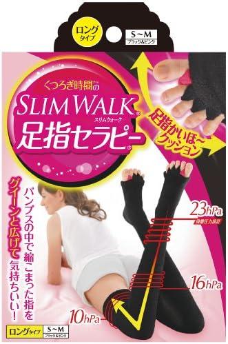 スリムウォーク 足指セラピー (冬用) ロングタイプ S-Mサイズ ブラック&ピンク(SLIMWALK,split open-toe socks,SM)