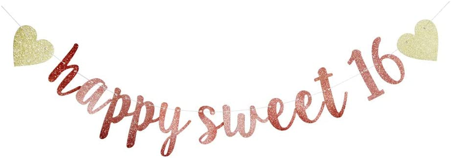Happy Sweet 16 Banner, 16th Birthday Party Sign, Sweet Sixteen Party Supplies