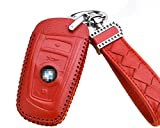 Womens Red BMW Smart Key FOB Leather Key Remote Case Cover Protector Holder
