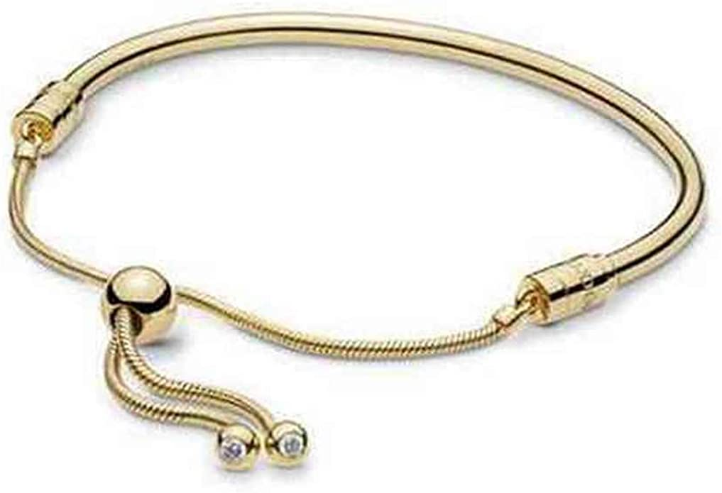 PANDORA Shine Moments Sliding Bangle 18k Gold Plated PANDORA Shine  Collection Bracelet, Size: 19cm, 7.5 inches - 567953CZ-2