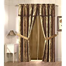 Cozy Beddings Vintage Stripe 2-Panel Floral Design Jacquard Window Curtain/Drape Set, Gold/Burgundy