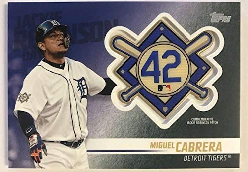 (2018 Topps Update and Highlights Baseball Series Jackie Robinson Day Manufactured Medallion Patch #JRP-MG Miguel Cabrera Official MLB Trading Card)