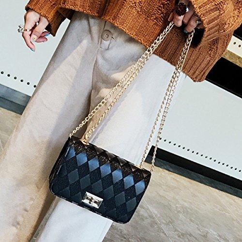 Bolsos De Mano Moda Bandolera Costura Cadena Bolsa Cuadrada Pequeña Messenger Mujer Bolsa De Cerradura BlackRound