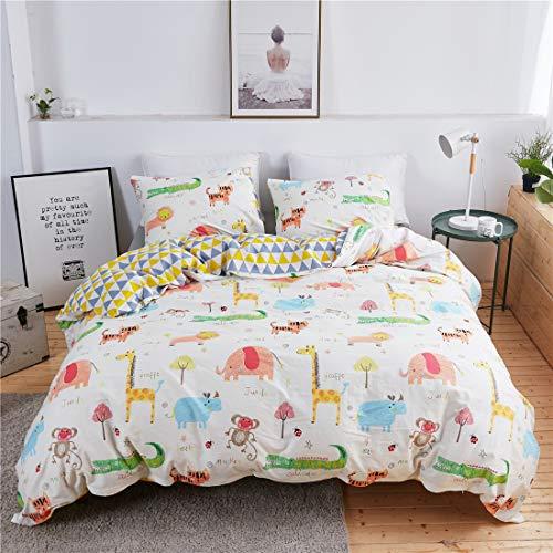 Lotus Karen Animal Zoo Duvet Cover Set for Kids - 100% Cotton Full Size Giraffe Crocodile Cow and Monkey 3-Piece Kids Cartoon Bedding Set(1Duvet Cover/2Pillowcases) - Reversible Plant Flower Bedding