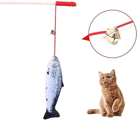 Juguete de Caña de Pescar para Gatos Masticar Catnip Palos ...