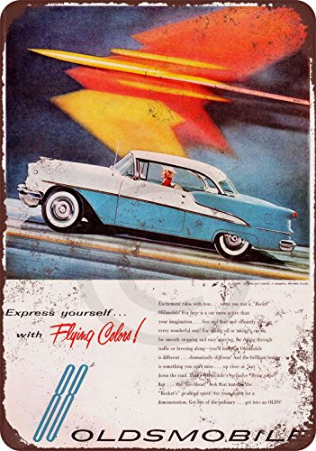 Sign Flying Tin (1955 Oldsmobile 88 Flying Colors reproduction metal tin sign 8 x 12)