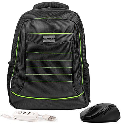 VanGoddy Bravo Green Trim Laptop Backpack w/ Mouse and USB HUB for Dell Latitude / Inspiron / ChromeBook / Precision Mobile Workstation / XPS 13