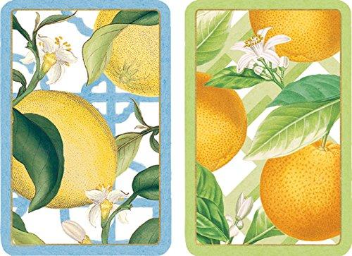 Caspari Entertaining Double Deck of Bridge Playing Cards, Jumbo Type, Citrus