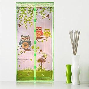 Green Owl Magnetic Screen Door Full Frame Magic Mesh Net