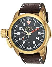 Invicta Men's 'Aviator' Quartz Stainless Steel and Leather Casual Watch, Color: Brown (Model: 20462)