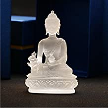 High - grade glass Buddha statue sculpture diagram gift craft Buddha statue decoration craft home office decoration (white)