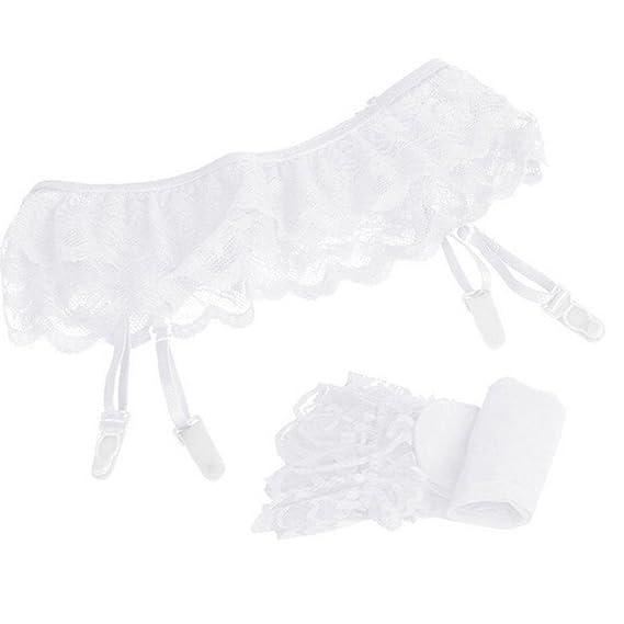 VJGOAL Womens sexy Lace Bow sling calcetines Appeal Medias hasta el muslo Calcetines y liguero Garter
