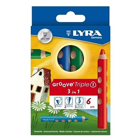 Lyra Groove Triple 1, 6er Sortiment, Aquarellstift, Farbstift, Wachsmalkreide - Mine Ø 10 mm