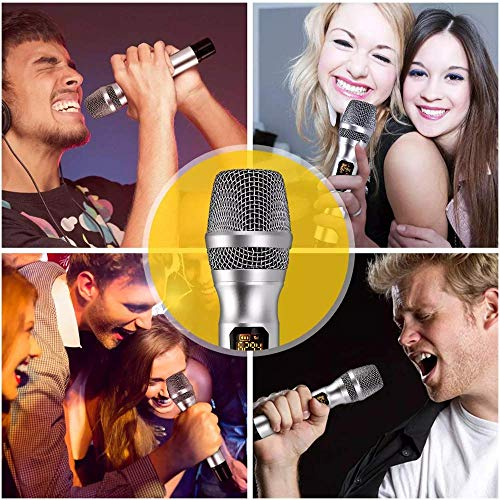 Gadget Wagon Universal 2 UHF Wireless microphone Professional Stage Singing | for Mobile, Smartphone, Camera & Laptop