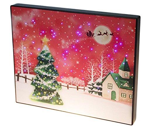 Santa's Flying Sleigh Above Christmas Tree Framed LED Artwork with Touch-Activated Light Sensor - 11