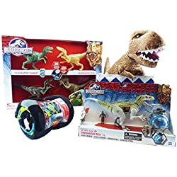 Jurassic World manta, 8pieza Bundle–Velociraptor 4-Pack, Indominus Rex VS. gyrosphere Pack, Micro, T-Rex Cuddle almohada y caja de almacenamiento