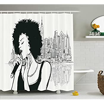Amazon.com: Afro Decor Shower Curtain by Ambesonne, American Jazz ...