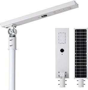 20W Outdoor LED Solar Street Lights - Microwave Radar Motion Sensor Outdoor Security Commercial Area Lights - 6000K LED Shoebox Pole Light for Garage Patio Garden Driveway Yard