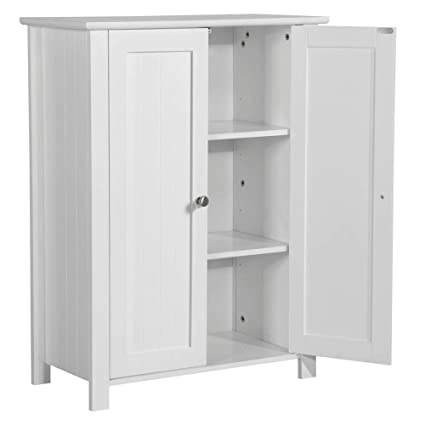 Awe Inspiring Topeakmart 31 5H Bathroom Floor Cabinet Free Standing 2 Door Storage Cabinet With 2 Adjustable Shelves Anti Toppling Design White Interior Design Ideas Clesiryabchikinfo