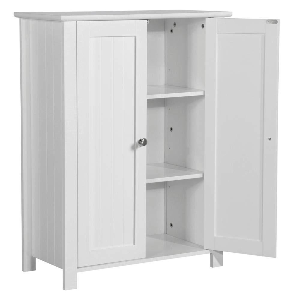 Topeakmart 31.5''H Bathroom Floor Cabinet Free Standing 2-Door Storage Cabinet with 2 Adjustable Shelves, Anti-toppling Design, White