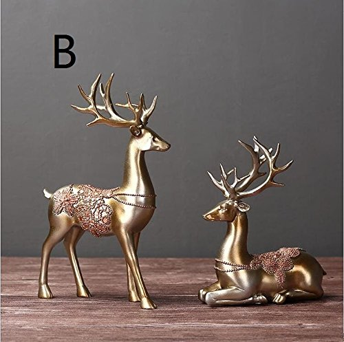 2PCS 1 pair New Style Resin Animal Lover Deer Figurines Home Miniature Handwork Classic Great Gifts TA112249 ( Color : A ) by Supper PP