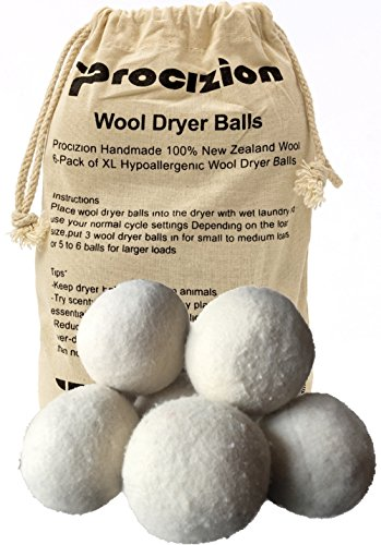 Wool Dryer Balls XL Made of 100% Premium, Organic Wool, Handmade, Non-Toxic, All Natural Eco-Friendly Reusable Fabric Softener, 6 Pack (Eco Friendly Natural)